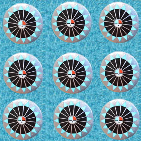 Native American Zuni Discs on Turquoise fabric by fabric_is_my_name on Spoonflower - custom fabric