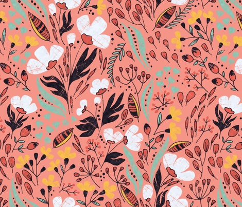 Floral Dance on pink fabric by lidiebug on Spoonflower - custom fabric
