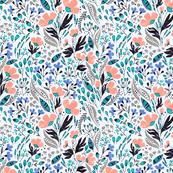 Floral Dance on blue