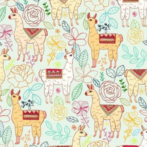 Mexican Llamas With Plants On Pale Mint
