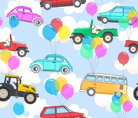 Cars in the sky fabric by studio_debelle on Spoonflower - custom fabric