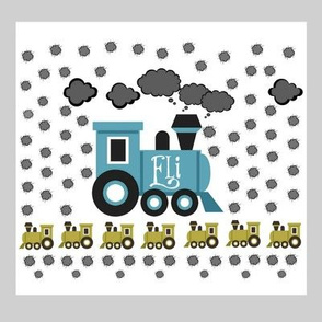 blue train quilt 8x8 PERSONALIZED Eli