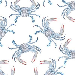 Small Tribal Blue Crab on White