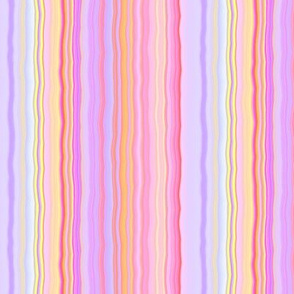 sunrise pink coral yellow pastel wavy stripes 1