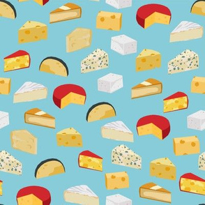 cheeses food fabric gourmet foodie blue