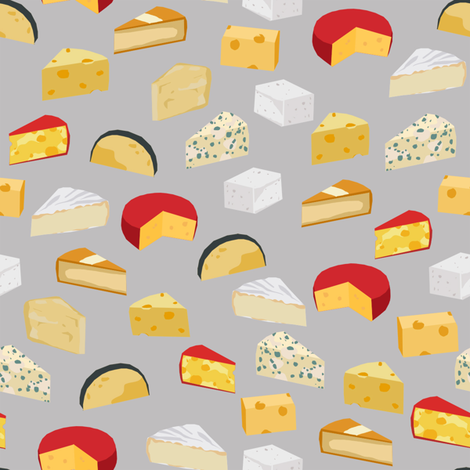 cheeses food fabric gourmet foodie grey fabric by charlottewinter on Spoonflower - custom fabric