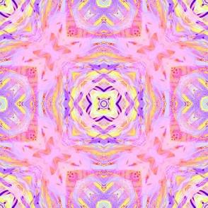 sunrise pink yellow purple checkerboard mandala tiles