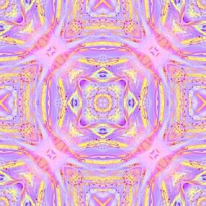 sunrise pink yellow purple mandalas checkerboard tiles