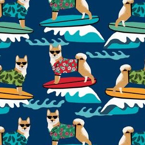 shiba inu surfing summer beach vacation dog breed fabric blue