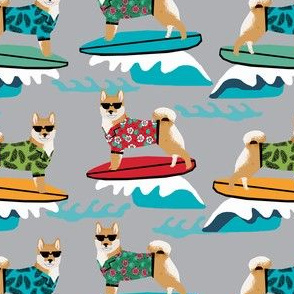 shiba inu surfing summer beach vacation dog breed fabric grey