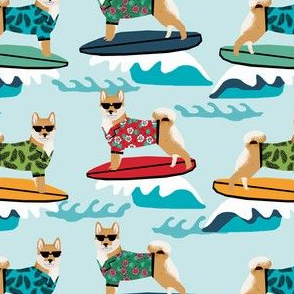 shiba inu surfing summer beach vacation dog breed fabric light blue