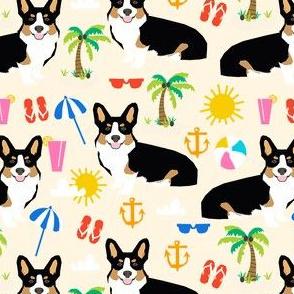 tricolored corgi beach vacation summer sunshine dog fabric yellow