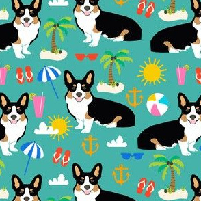 tricolored corgi beach vacation summer sunshine dog fabric teal