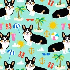 tricolored corgi beach vacation summer sunshine dog fabric med mint