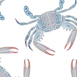 Tribal Blue Crab Large on White