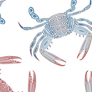 Tribal Blue Crab Large Mixed on White