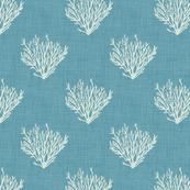 Coral - Blue -Linen