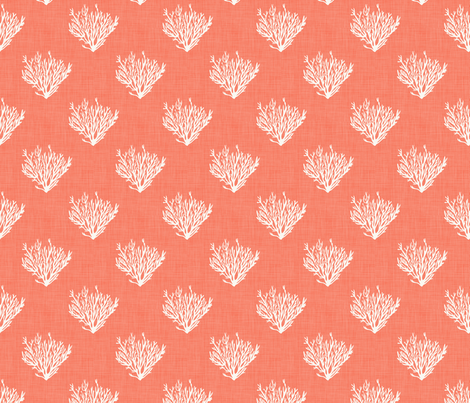 Coral - Red - Linen fabric by fernlesliestudio on Spoonflower - custom fabric