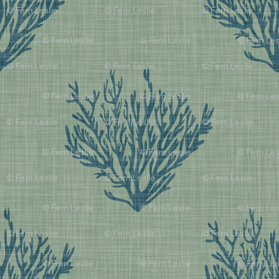 Coral - Teal - Linen