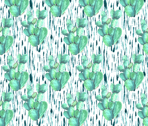 Cactus in the rain fabric by fat_bird_designs on Spoonflower - custom fabric