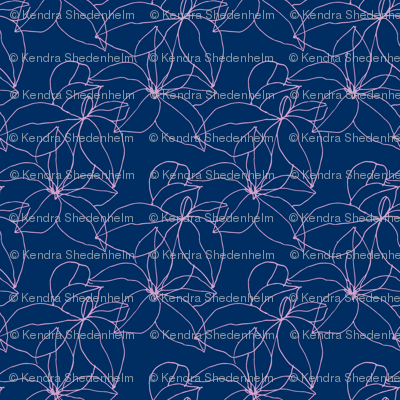 Floral Line Drawing in Orchid and Navy
