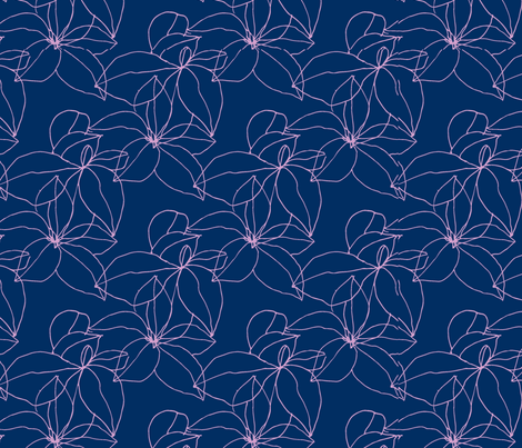 Floral Line Drawing in Orchid and Navy fabric by kendrashedenhelm on Spoonflower - custom fabric