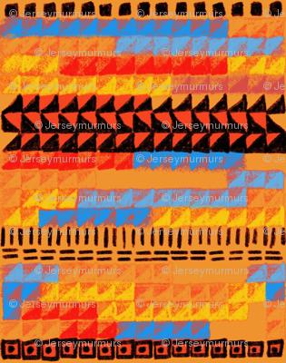 Bauhaus weaving orange blue red