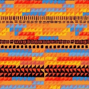Bauhaus weaving orange blue red
