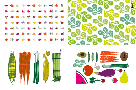 Eat your Fruits and Veggies Dish Towels fabric by outside_the_line on Spoonflower - custom fabric