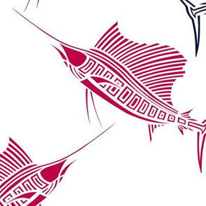 Red and Navy Sailfish on White