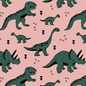 Cool Scandinavian kids dino friends dinosaur pattern girls bright green apricot