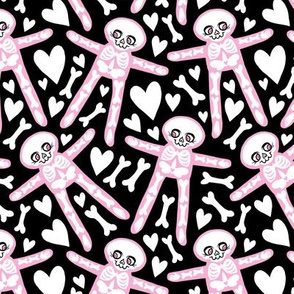 Skellies - pink skeletons on black with white hearts bones