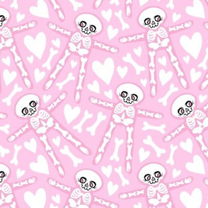 Skellies - pink on pink with white hearts bones