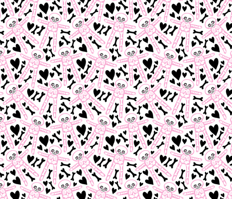 Skellies - Pink skeletons with black bones and hearts fabric by blacklilypie on Spoonflower - custom fabric