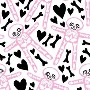 Skellies - Pink skeletons with black bones and hearts