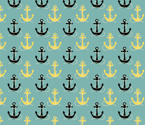 Black & Yellow Anchors on Aqua fabric by lauriekentdesigns on Spoonflower - custom fabric