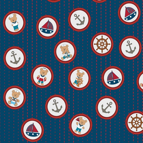 Nautical bear in rope circles, red, white, and blue.