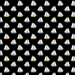 Large Sailboats on Black