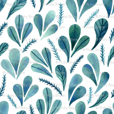 Leafs and Watercolour Ferns