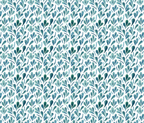 Leafs and Watercolour Ferns fabric by tinyandtenacious on Spoonflower - custom fabric