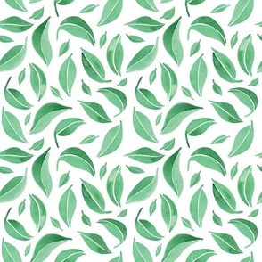 Falling Green Watercolor Leafs