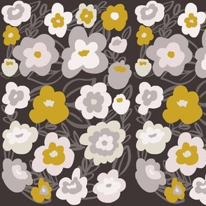 Gray and Mustard Modern Florals