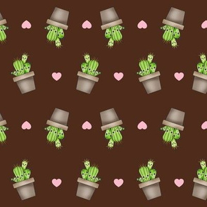 Kawaii Cacti Chocolate Brown