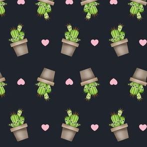 Kawaii Cacti Charcoal Grey