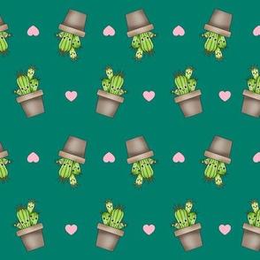 Kawaii Cacti Dark Teal
