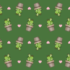 Kawaii Cacti Dark Green