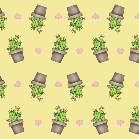 Kawaii Cacti Light Yellow fabric by costumewrangler on Spoonflower - custom fabric