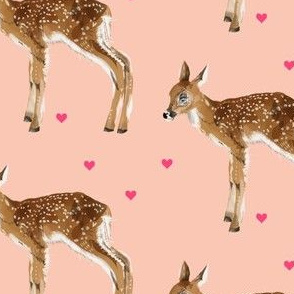 Lovely Fawn on Pink + Pink Hearts