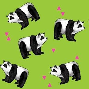 pandas everywhere on green with pink triangles