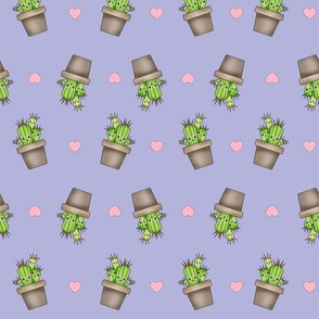 Kawaii Cacti on Purple